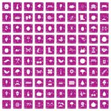 100 gardening icons set grunge pink. 100 gardening icons set in grunge style pink color isolated on white background vector illustration Royalty Free Stock Image