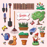 Gardening icons set Stock Photos