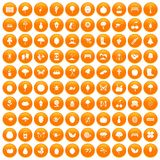 100 gardening icons set orange. 100 gardening icons set in orange circle isolated on white vector illustration stock illustration
