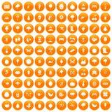 100 gardening icons set orange. 100 gardening icons set in orange circle isolated on white vector illustration Stock Illustration