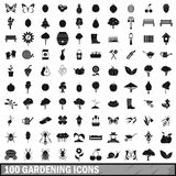 100 gardening icons set in simple style Stock Images