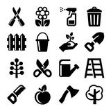 Gardening Icons Set on White Background. Vector Royalty Free Stock Images