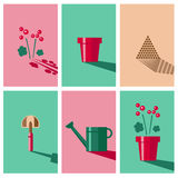 Gardening Icons. Vector icons for gardening. Plant, pot, soil, shovel and watering can Royalty Free Stock Photos