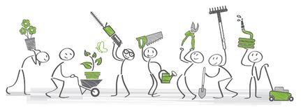Gardening ilustration. Stick figure holding gardening tools and utensils vector illustration