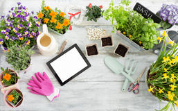 Gardening kit with tablet Stock Image