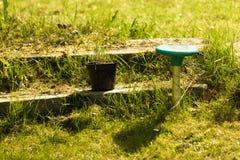 Gardening. Lawn sprinkler. Irrigation system. Royalty Free Stock Photos