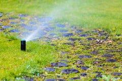 Gardening. Lawn sprinkler spraying water over grass. Royalty Free Stock Photography