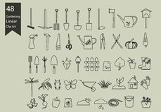 Gardening line icons set. Gardening  tools vector set. Stock Photography