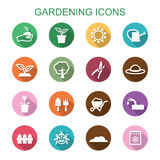 Gardening long shadow icons Royalty Free Stock Photo