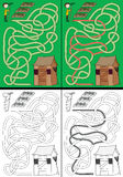 Gardening maze. For kids with a solution in color and in black and white royalty free illustration