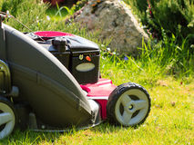 Gardening. Mowing green lawn with red lawnmower Stock Photo