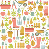 Gardening pattern. Seamless pattern with gardening icons Royalty Free Stock Photos