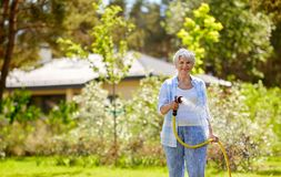 Senior woman watering lawn by hose at garden. Gardening and people concept - happy senior woman watering lawn by garden hose at summer stock image