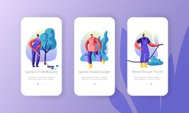 Gardening People Concept for Website or Web Page, Characters Growing and Caring of Plants in Garden, Summertime Seasonal Hobby. Mobile App Page Onboard Screen vector illustration