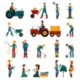 Gardening People Flat Set stock illustration