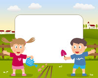 Gardening Photo Frame. A funny cartoon photo frame with a girl and a boy playing with gardening tools in a country landscape Stock Images