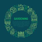 Gardening, planting and horticulture banner with vector  Stock Images