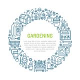 Gardening, planting and horticulture banner with vector  Royalty Free Stock Photo