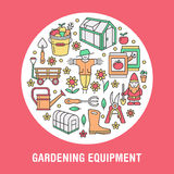 Gardening, planting, horticulture banner with vector line icon. Garden equipment, green house, scarecrow, pruners. Watering can and other tools. Vegetables Stock Image