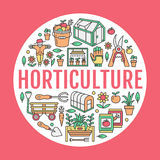 Gardening, planting horticulture banner with vector line icon. Garden equipment, organic seeds, green house, pruners. Watering can, tools. Vegetables, flower Stock Images