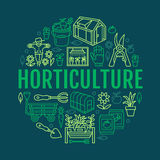 Gardening, planting horticulture banner with vector line icon. Garden equipment, organic seeds, green house, pruners. Watering can, tools. Vegetables, flower stock illustration