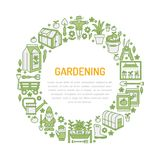 Gardening, planting and horticulture banner with vector line icon. Garden equipment, organic seeds, greenhouse pruners Royalty Free Stock Photos