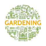 Gardening, planting horticulture colored banner with vector line icon. Garden equipment, organic seeds, green house Royalty Free Stock Image