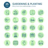 Gardening, planting and horticulture line icons. Garden equipment, organic seeds, fertilizer, greenhouse, pruners. Watering can and other tools. Vegetables Royalty Free Stock Photography