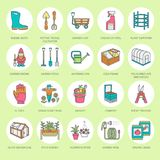 Gardening, planting and horticulture line icons. Garden. Equipment, organic seeds, fertilizer, greenhouse, pruners, watering can and other tools. Vegetables Stock Photography