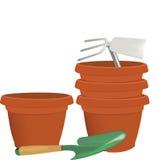 Gardening pots and atrezzatura varies Royalty Free Stock Image