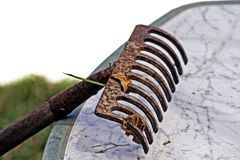 Gardening rake, detail Royalty Free Stock Image