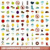 100 gardening reclame icons set, flat style. 100 gardening reclame icons set in flat style for any design vector illustration royalty free illustration