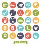 Gardening Round Color Icon Set Stock Photos