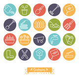 Gardening Round color Line Icon Set Royalty Free Stock Images