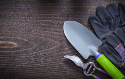 Gardening safety gloves hand spade and pruning Royalty Free Stock Photo