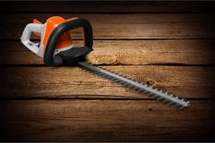 Gardening scissors. Cutting gardening tree hedge clippers bush home improvement Stock Photo