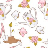 Gardening seamless pattern with butterfly, watering can, garden tools, and sprout Stock Image