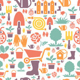 Gardening seamless pattern design with cute flat Royalty Free Stock Photography