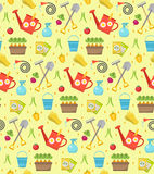Gardening seamless pattern with garden tools. Spring endless backdrop.  Royalty Free Stock Photo
