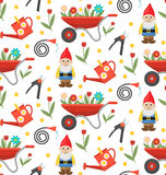 Gardening seamless pattern with gnome, flowers and tools. Spring endless background. Royalty Free Stock Images