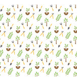 Gardening seamless pattern isolated on white Royalty Free Stock Image