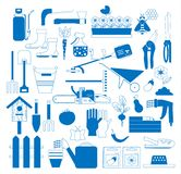 Gardening set with farm tools and equipment: grass-cutter, vegetables, wheelbarrow, rake or shovel and other lawn and garden icon stock illustration