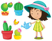 Gardening set with girl watering plants Royalty Free Stock Image