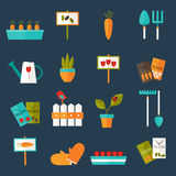 Gardening set icons over blue Stock Photo