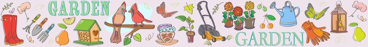 Gardening set illustration banner horizontal Royalty Free Stock Image