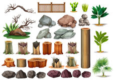 Gardening set of rocks and branches Royalty Free Stock Photos