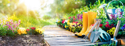 Gardening - Set Of Tools For Gardener And Flowerpots. In Sunny Garden