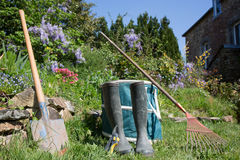 Gardening - Set Of Tools For Gardener Stock Photos