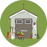 Gardening shack illustration Royalty Free Stock Photography