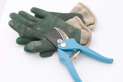 Gardening shears with gloves Stock Photos